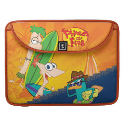 Macbook Pro 15' Flap Sleeve with Phineas, Ferb and Agent P Surfing design