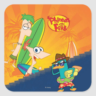 Phineas, Ferb and Agent P Surf Square Sticker