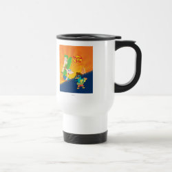 Travel / Commuter Mug with Phineas, Ferb and Agent P Surfing design