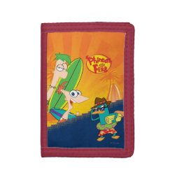 TriFold Nylon Wallet with Phineas, Ferb and Agent P Surfing design