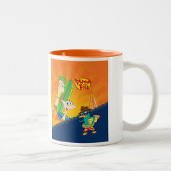 Two-Tone Mug with Phineas, Ferb and Agent P Surfing design