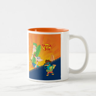 Phineas, Ferb and Agent P Surf Two-Tone Coffee Mug