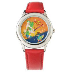 Kid's Stainless Steel Red Leather Strap Watch with Phineas, Ferb and Agent P Surfing design