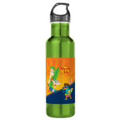 Water Bottle (24 oz) with Phineas, Ferb and Agent P Surfing design
