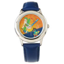 Kid's Stainless Steel Blue Leather Strap Watch with Phineas, Ferb and Agent P Surfing design