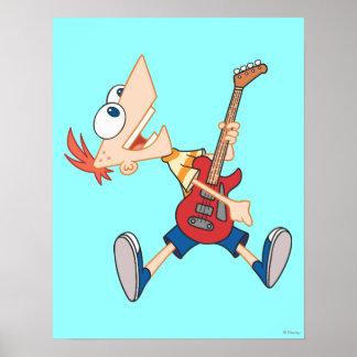 Phineas que oscila hacia fuera con la guitarra póster