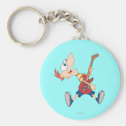 Basic Button Keychain with Rock 'n Roll with Phineas Flynn and Guitar design