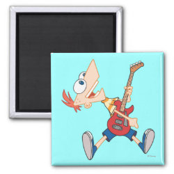 Square Magnet with Rock 'n Roll with Phineas Flynn and Guitar design