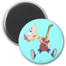 Round Magnet with Rock 'n Roll with Phineas Flynn and Guitar design
