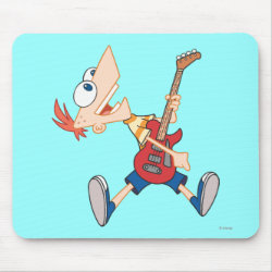 Mousepad with Rock 'n Roll with Phineas Flynn and Guitar design