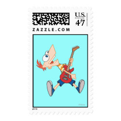 Medium Stamp 2.1' x 1.3' with Rock 'n Roll with Phineas Flynn and Guitar design