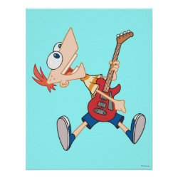 Matte Poster with Rock 'n Roll with Phineas Flynn and Guitar design
