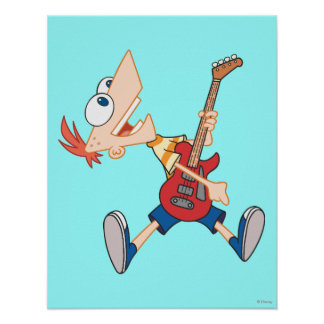 Phineas Rocking Out with Guitar Poster