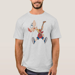 Men's Basic T-Shirt with Rock 'n Roll with Phineas Flynn and Guitar design