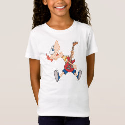 Girls' Fine Jersey T-Shirt with Rock 'n Roll with Phineas Flynn and Guitar design