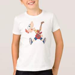 Kids' American Apparel Fine Jersey T-Shirt with Rock 'n Roll with Phineas Flynn and Guitar design