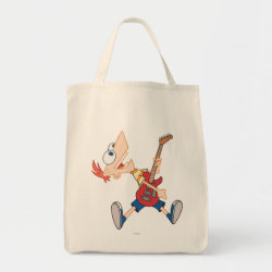 Grocery Tote with Rock 'n Roll with Phineas Flynn and Guitar design