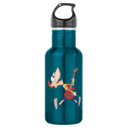 Water Bottle (24 oz) with Rock 'n Roll with Phineas Flynn and Guitar design