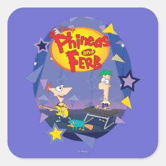 Phineas y Ferb 1 Pegatina Cuadrada