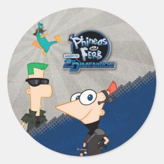 Phineas y Ferb - 2.o Etiquetas Redondas