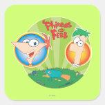 Phineas y Ferb Colcomanias Cuadradas Personalizadas
