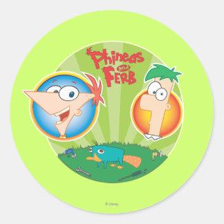 Phineas y Ferb Pegatina Redonda