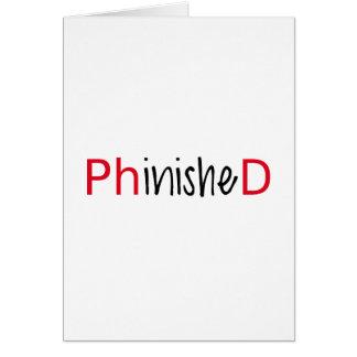 Phinished, arte de la palabra, diseño del texto tarjeta de felicitación