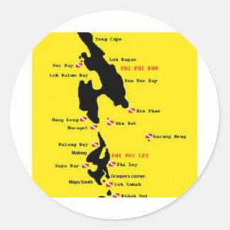 PhiPhi Dive Sites - Big Classic Round Sticker
