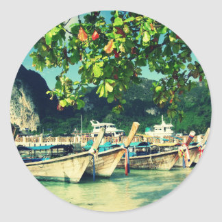 Phiphi Island boats Classic Round Sticker