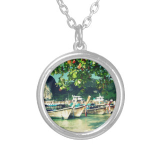 Phiphi Island boats Round Pendant Necklace
