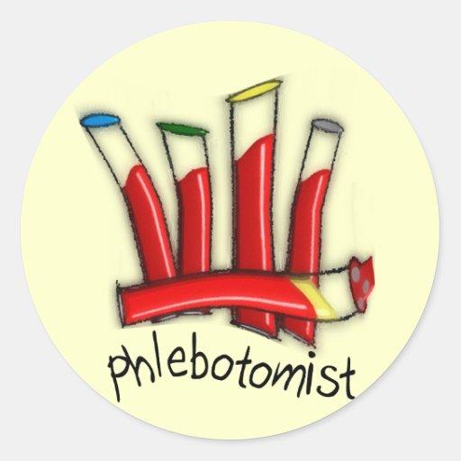Phlebotomist Artsy Blood Tubes Design Gifts Round Sticker