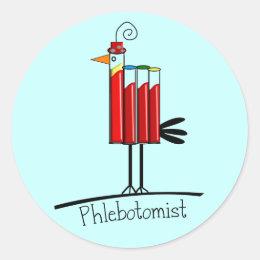 "Phlebotomist ""Blood Tube Bird"" Gifts Classic Round Sticker"