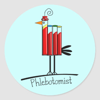 "Phlebotomist ""Blood Tube Bird"" Gifts Classic Round Sticker"