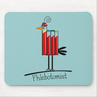 "Phlebotomist ""Blood Tube Bird"" Gifts Mouse Pads"
