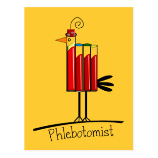 "Phlebotomist ""Blood Tube Bird"" Gifts Postcard"