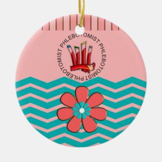 Phlebotomist Chevron Design Ceramic Ornament
