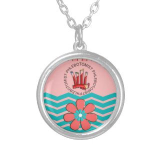 Phlebotomist Chevron Design Silver Plated Necklace