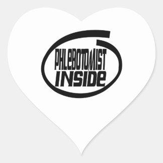 Phlebotomist dentro calcomanías de corazones personalizadas