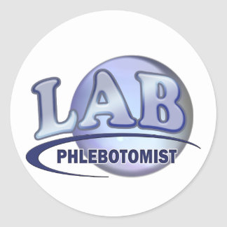 PHLEBOTOMIST Fun Blue LOGO Classic Round Sticker