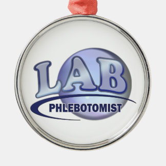PHLEBOTOMIST Fun Blue LOGO Metal Ornament