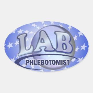 PHLEBOTOMIST Fun Blue LOGO Oval Sticker