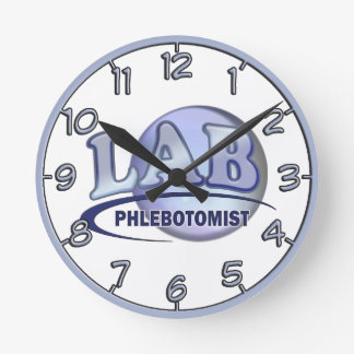 PHLEBOTOMIST Fun Blue LOGO Round Clock