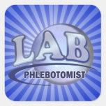 PHLEBOTOMIST Fun Blue LOGO Square Sticker