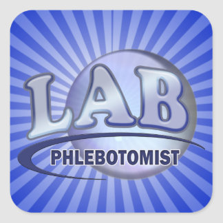 PHLEBOTOMIST Fun Blue LOGO Square Sticker