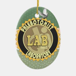 PHLEBOTOMIST LABORATORY BADGE LOGO CERAMIC ORNAMENT