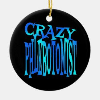 Phlebotomist loco adorno navideño redondo de cerámica