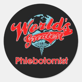 Phlebotomist más grande del mundo etiquetas redondas