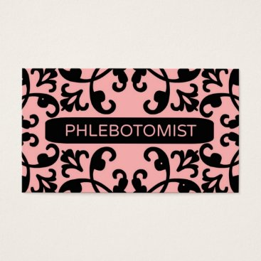 Professional Business Phlebotomist Peach Damask Business Card