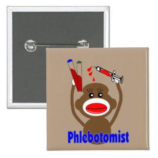 Phlebotomist Sock Monkey Brown Pinback Button