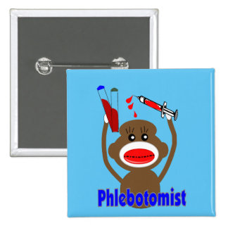 Phlebotomist Sock Monkey Pinback Button
